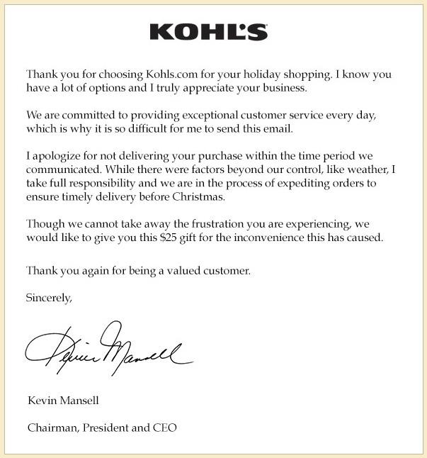 Kohls Letter